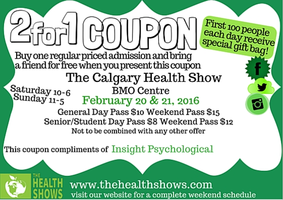 Insight at Calgary Health Show 2016 Coupons