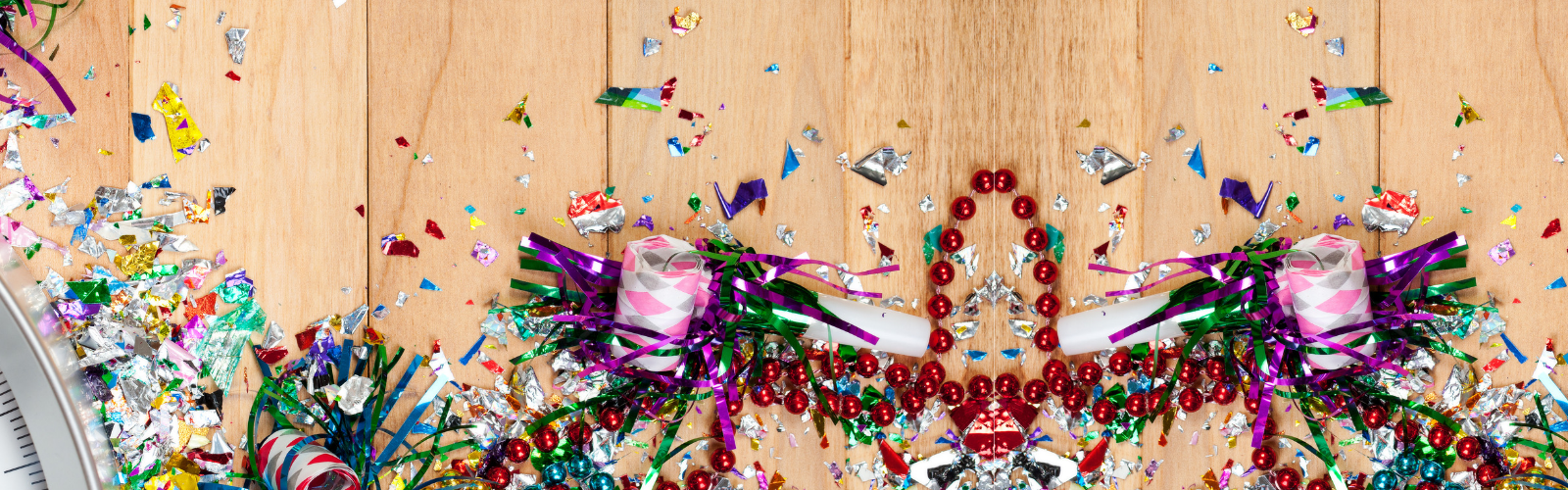 confetti and party decorations strewn on floor